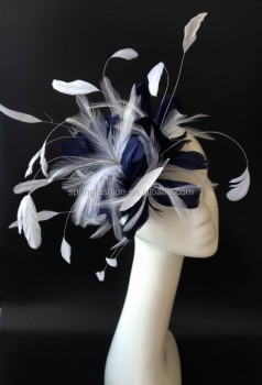 Navy white fascinator fascinator hat feather fascinator 201e7f70c33