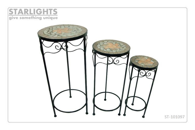 3 Round ceramic outdoor sturdy flower pot plant stand