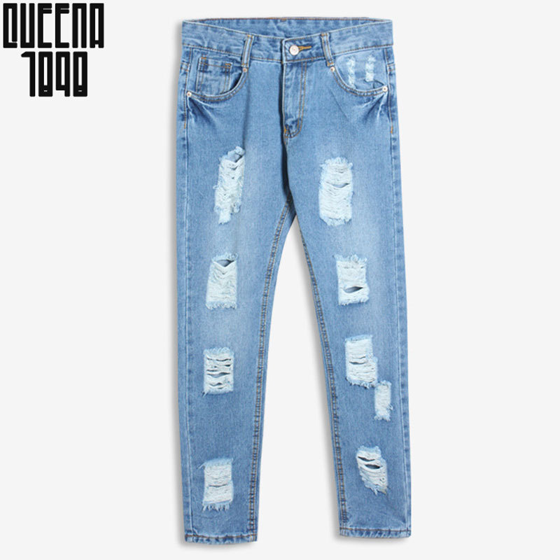 Denim jeans pants women hole ripped designer jeans women trousers 2015 brand Cross Pants harem pants  Hole loose pencil pants L