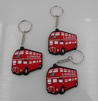 Wholesale Custom design london bus 3D silicone keyrings,pvc keyholder,3D plastic soft pvc keychain and rubber silicone keychain