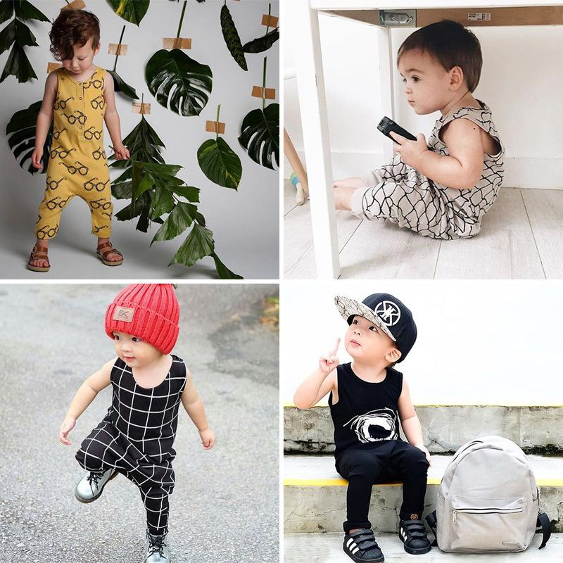 Summer 2017 New Baby Romper Sleeveless Glasses/Plaid Newborn Jumpsuits Baby Boys Girls Cotton Clothes Infant Clothing