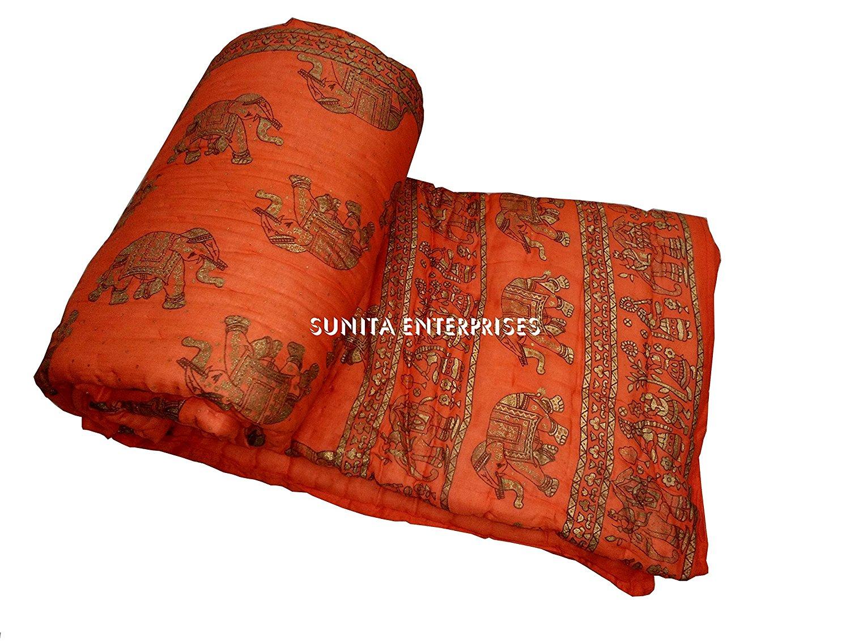 "Pure Elephant INDIAN Jaipuri Double Bed Cotton Razai , Handmade Stiched Jaipuri Rajai , Jaipuri Quilt ( Sanganeri Print Razai - Rajai ) With Cotton Filling By SUNITA ENTERPRISES (Orange, 90""x105"")"