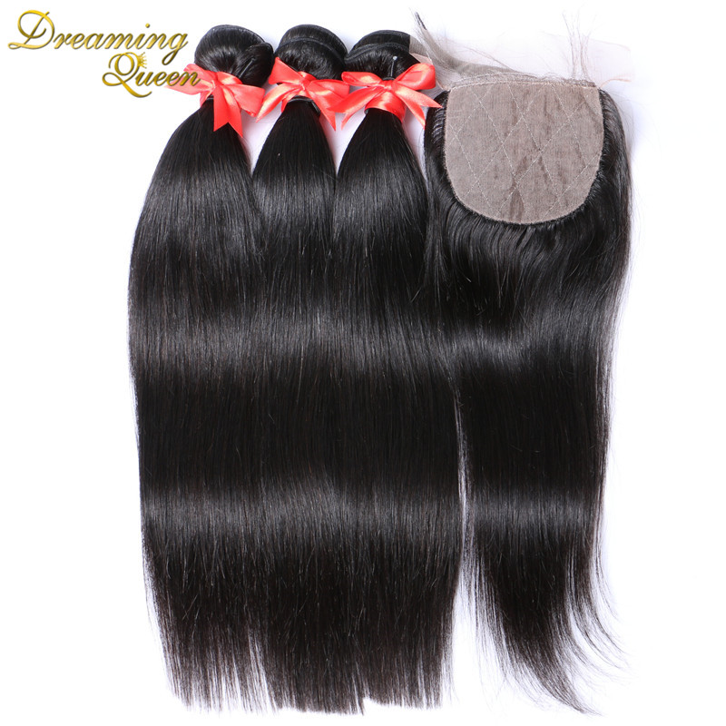 7A Malaysian Virgin Hair Silk Base Closure With Bundles 4Pc Lot Unprocessed Straight Human Hair 3