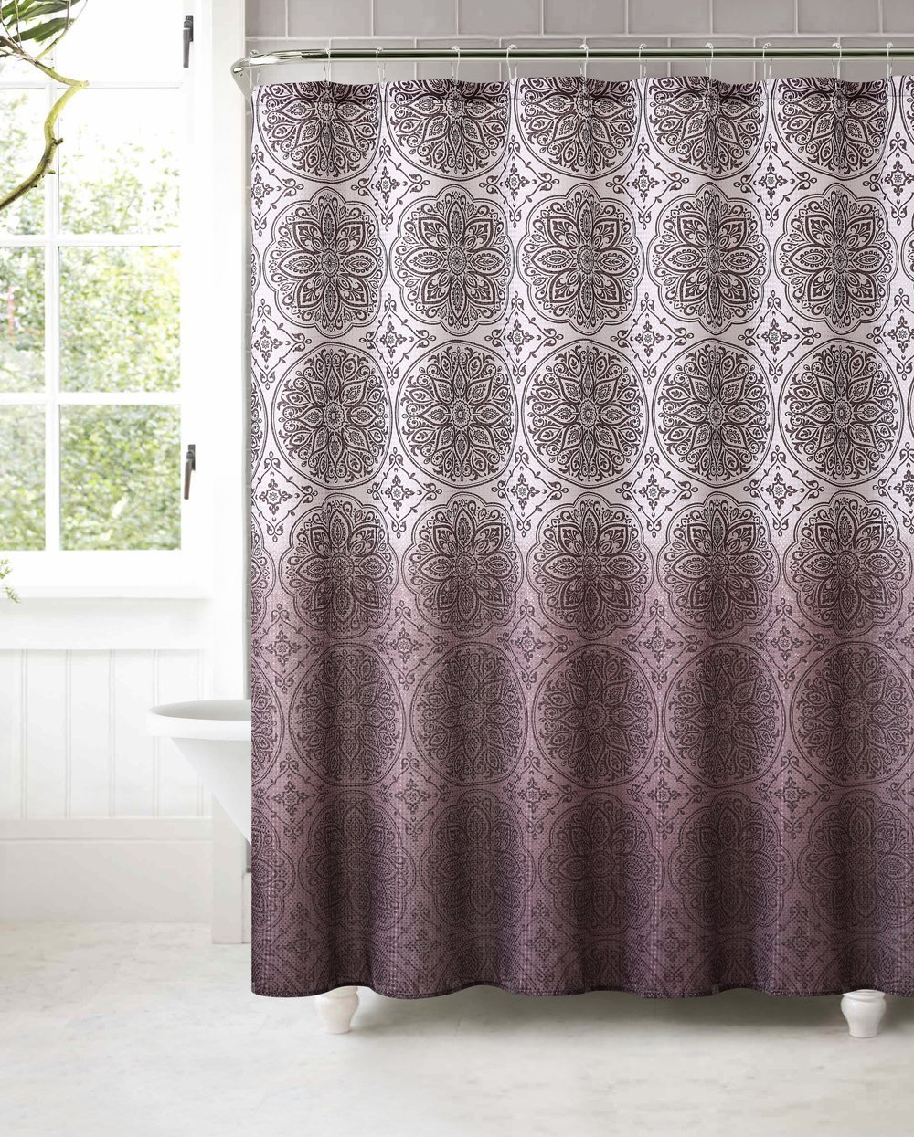 Buy Fabric Shower Curtain With 12 Roller Ball Hooks Ombre