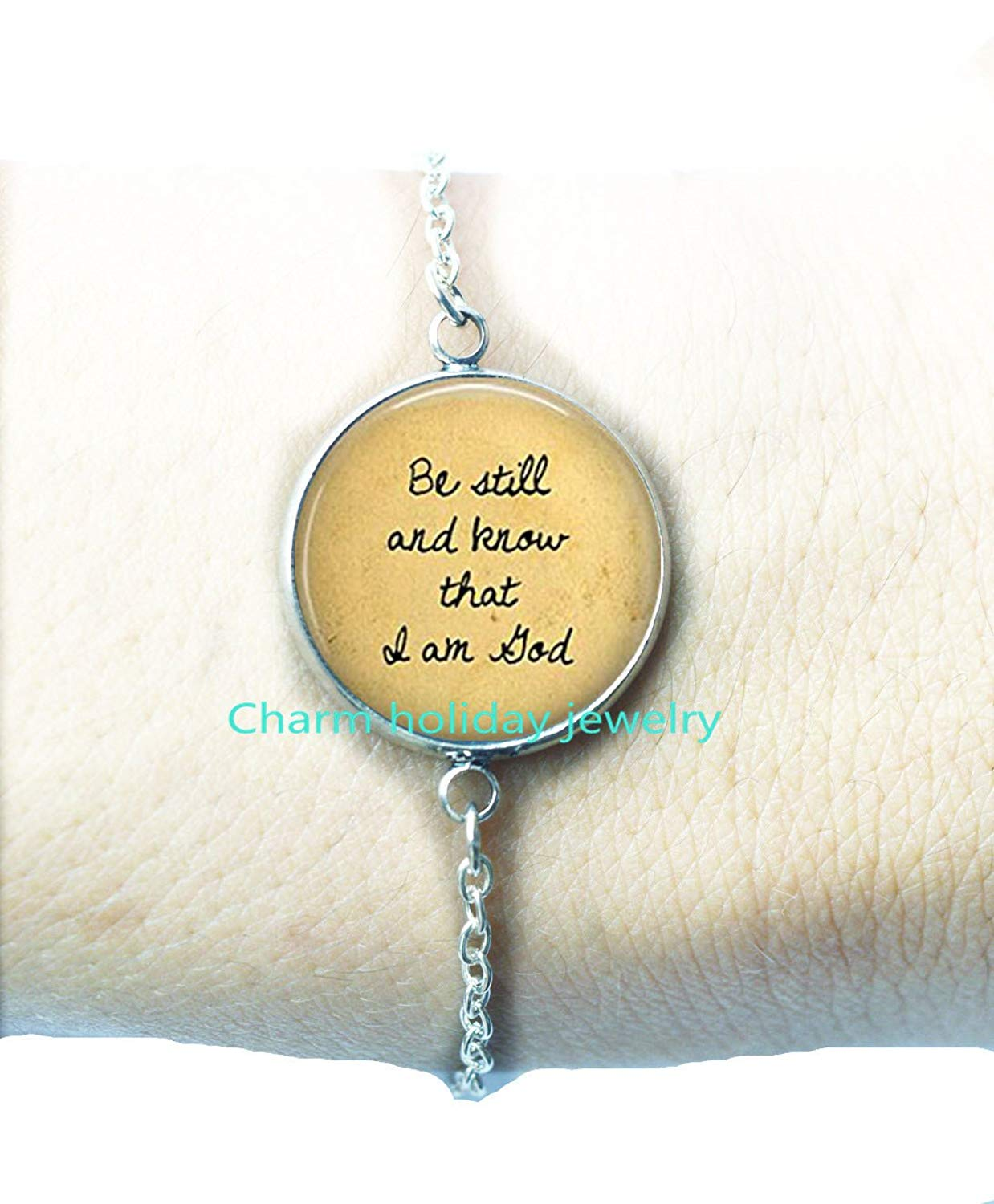 Religious Bracelets Bracelet Be Still and Know That I Am God Faith Charms.D0085 Religious Jewelry Faith Jewelry