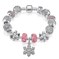 Hot Selling Qings 925 Sterling Silver Plated Snow Bracelets With Pink And White Zircon