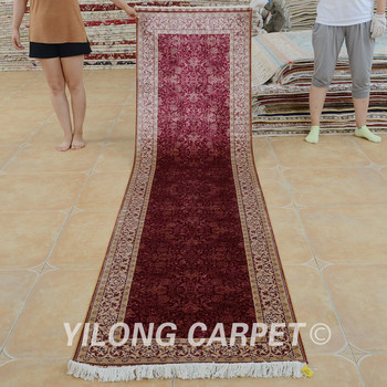 Yilong 2 5 X10 Long Hallway Persian Rugs Handmade Red Silk Carpet