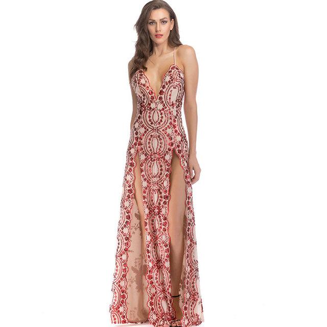 a18d5d1979 2018 granel lentejuelas noche dividir Sexy vestido brillante