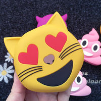 Latest Fashion Cute Hot Selling Cartoon emoji smile face poo power bank 2600mah pink poo Cat with Heart Eyes Emoji