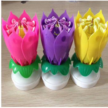 Lotus Flower Magic Musical Rotating Birthday Candle Hot Sale