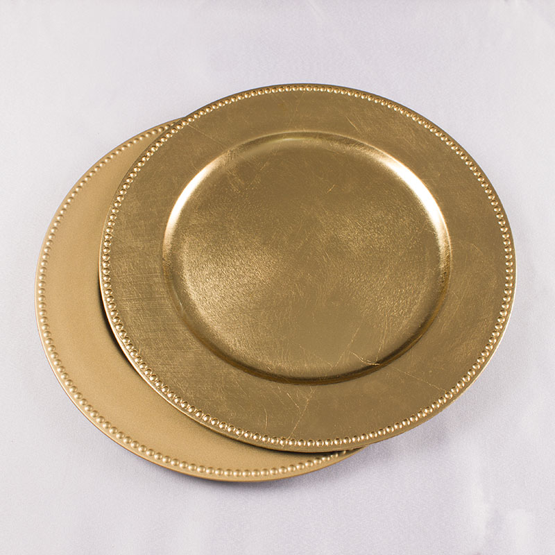 "Wholesale 13"" Plastic Gold Charger <strong>Plates</strong>"