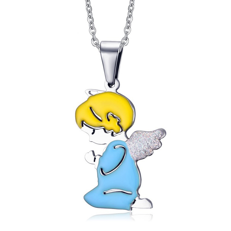 Sweet Heart Small Angel Prayer necklaces Double Colors Couple Necklace Choker For Lovers