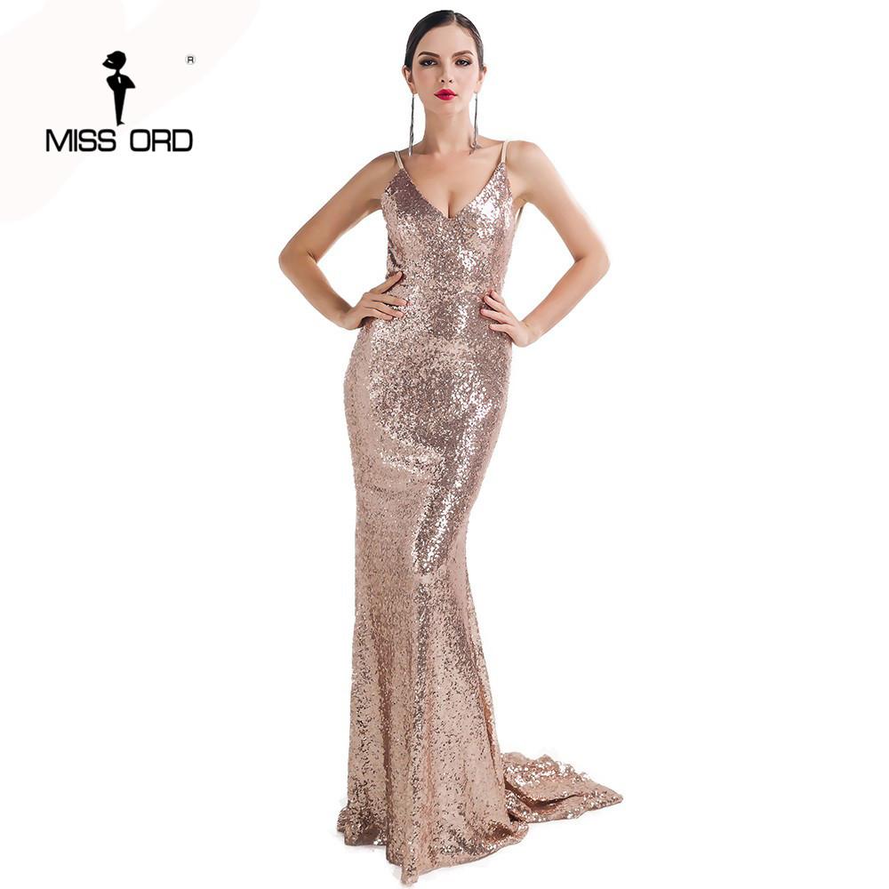 7077cb12c2 Wholesale- Missord 2017 Sexy halter V-neck party dress sequin maxi dress  FT4173