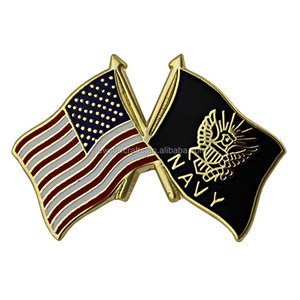 Magnetic hard enamel gold plated us flag lapel pin