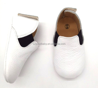 genuine leather soft sole boys booties infant plain white baby shoes