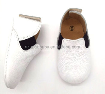 ccf654f45 Genuine Leather Soft Sole Boys Booties Infant Plain White Baby Shoes ...