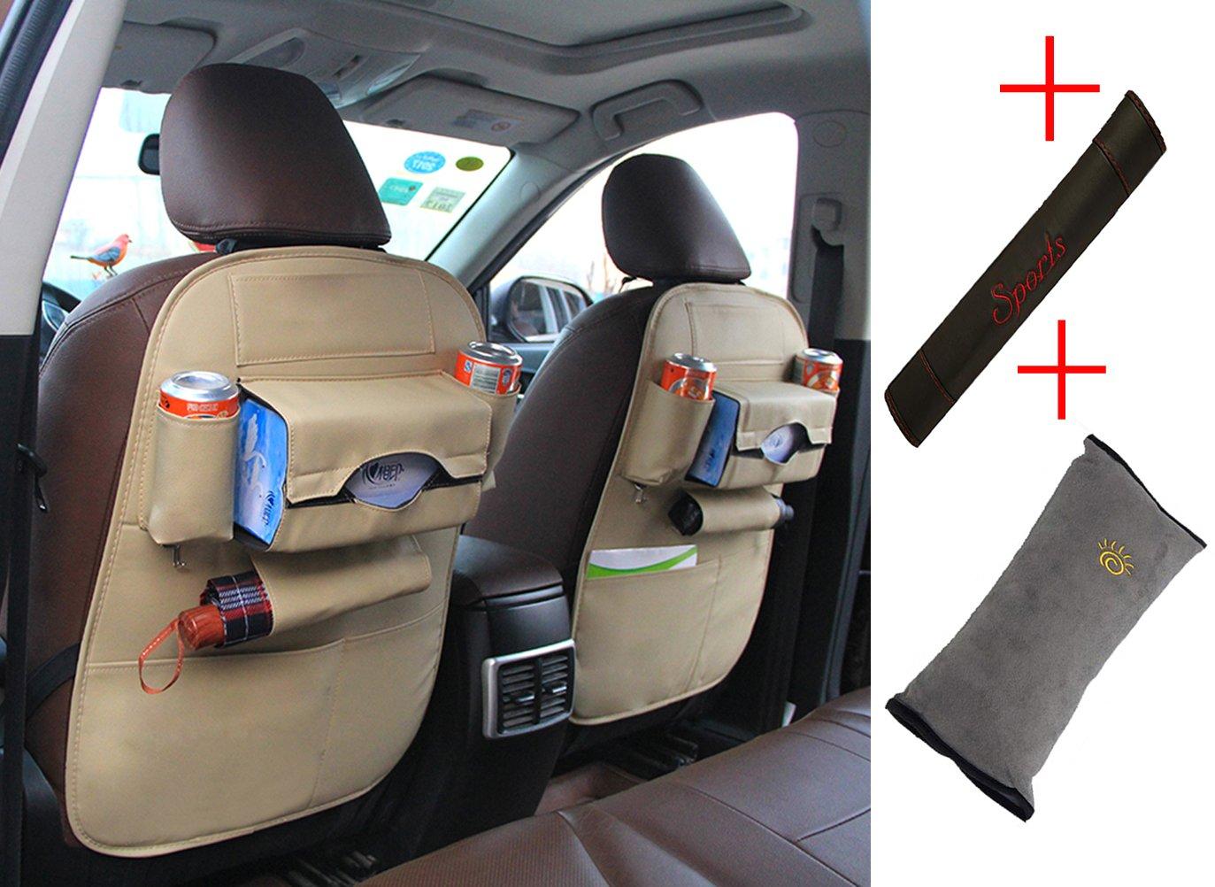 PU Leather Car Backseat Organizer, Seat Belt Shoulder, Children Seat Belt Pillow, 3-in-1 Package - Lamshine (Beige)