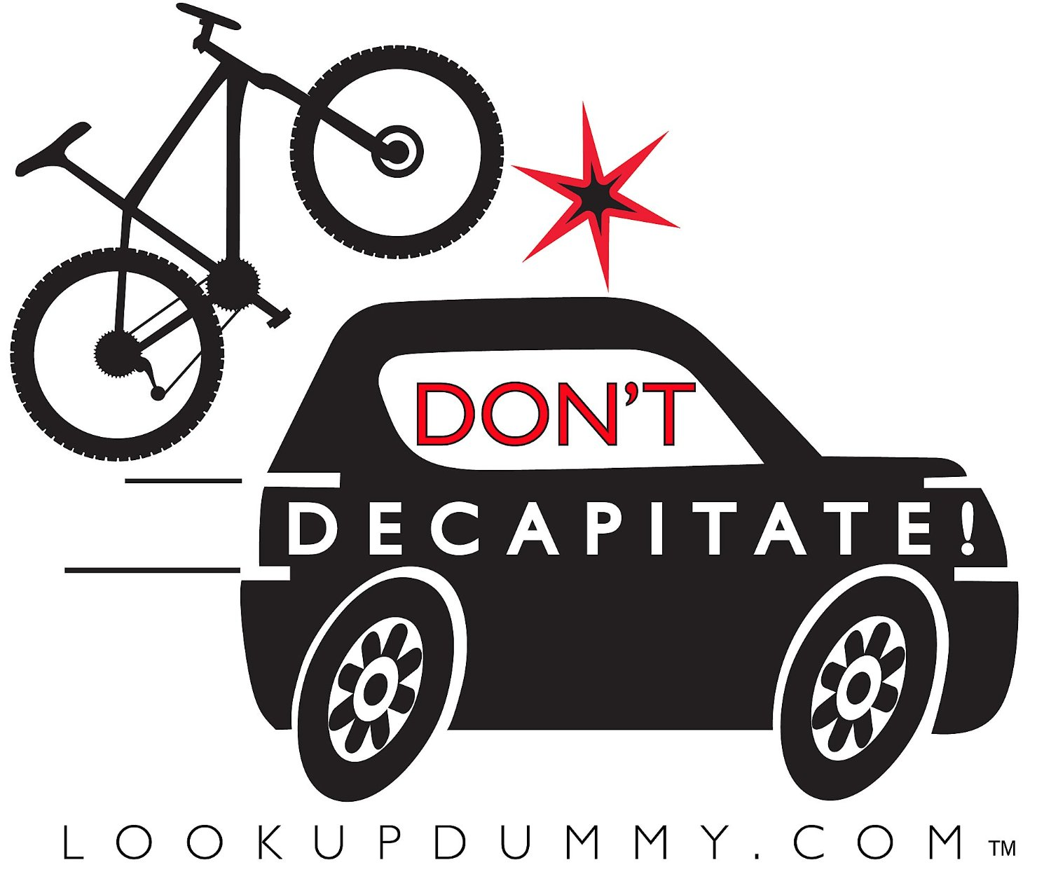 Don't Decapitate - Car Bike Roof Rack and Bike Rear Rack Windshield Reminder and Warning System - A Non-Adhesive Removable and Reusable Vinyl Window Cling - Save Your Bike Car and Rack from Damage!