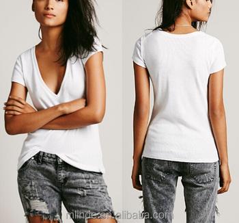 98903dd3360 T Shirts V Neck White Spandex Cotton Rayon Plain Blank Plain Women Short  Sleeve Deep V-neck Tshirt Summer Fashion Manufacture - Buy T Shirts V Neck  ...