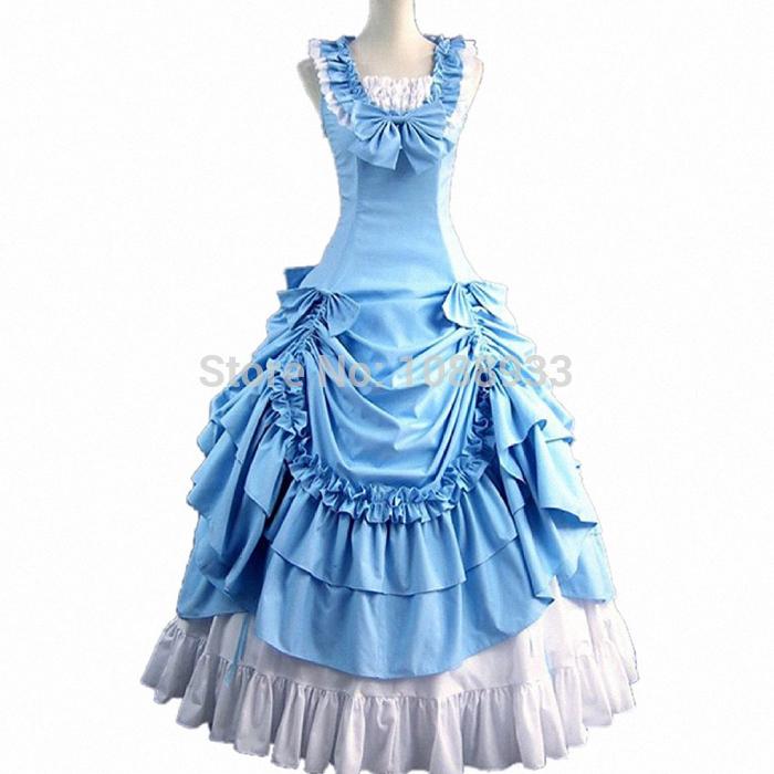 Buy gothic lolita dress adult princess blue costume southern ball ...