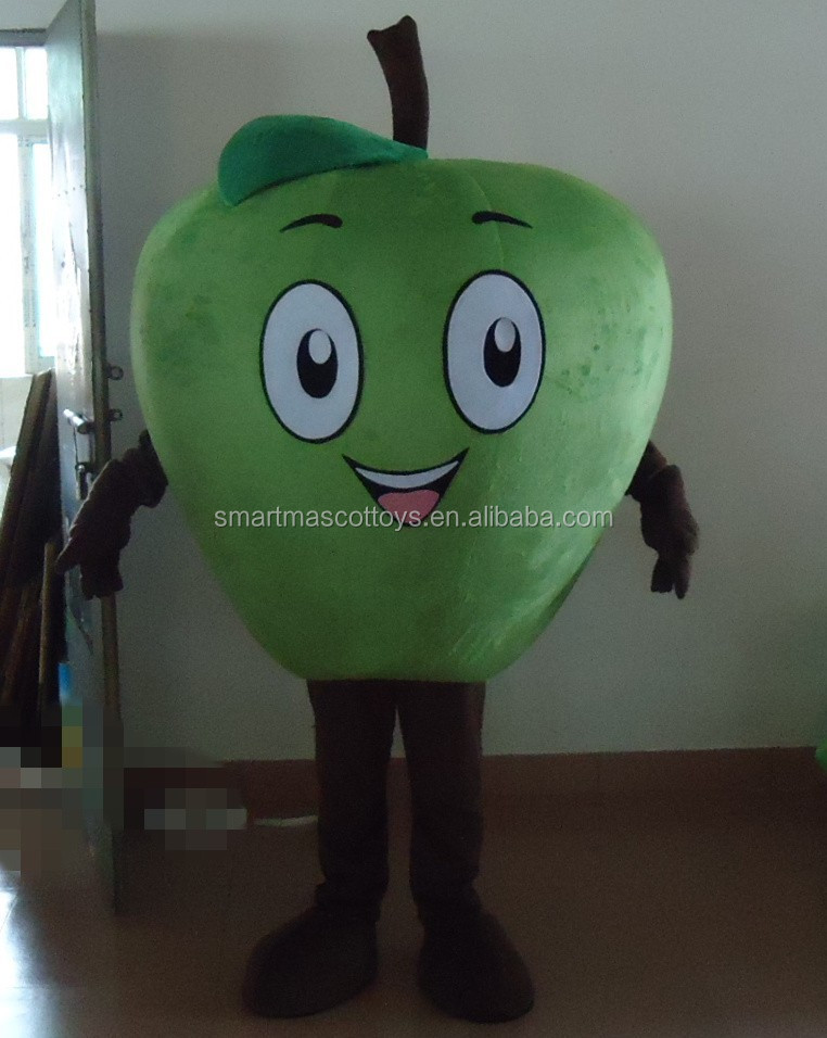 Custom adult green apple carton mascot costume