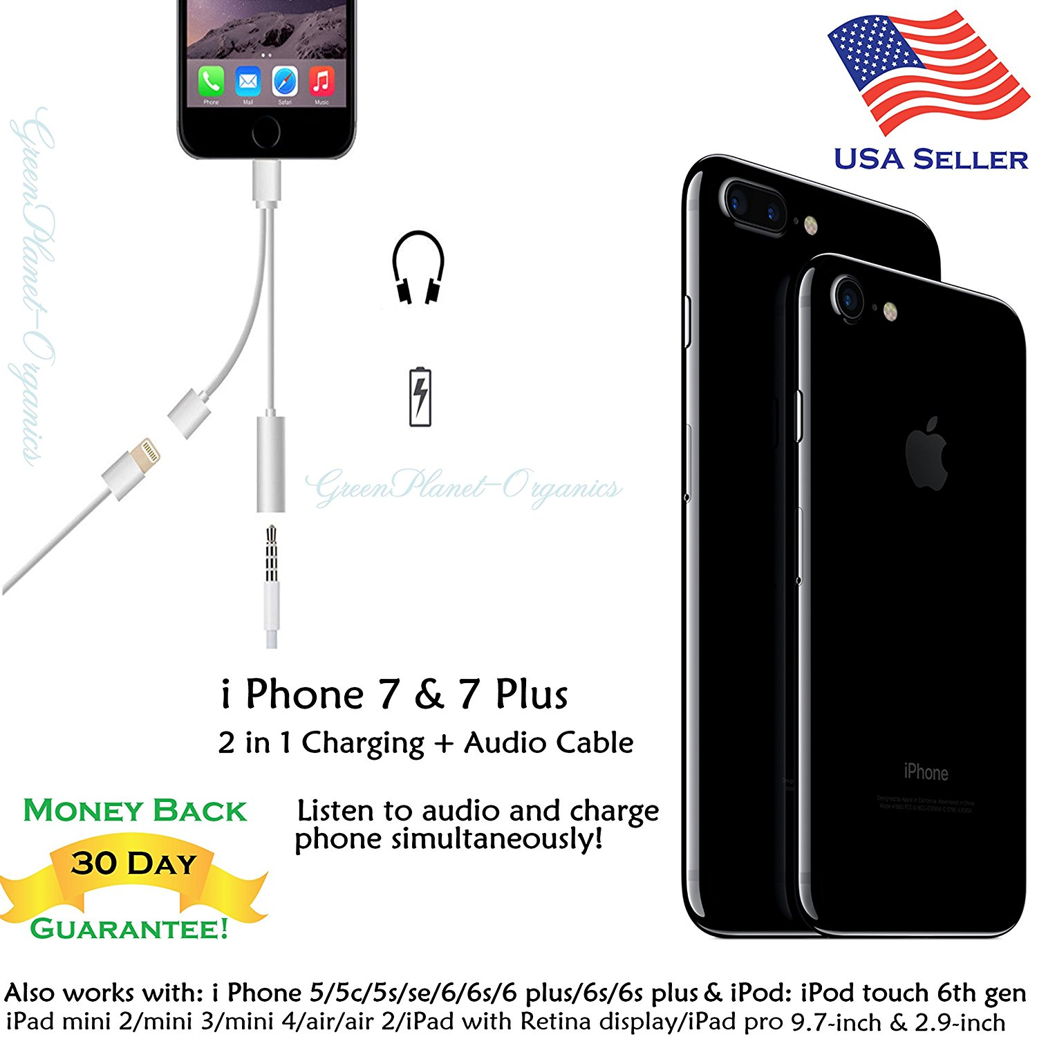 iPhone 7 & iPhone 7 Plus Two In One 3.5 MM Audio + USB Charging Cable (Listen to Audio & Charge Phone Simultaneously) Charge from Any USB Power Source Including Power Banks