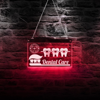 Dentist Dental Care LED Neon Sign Dental Hygienist Office Bedroom night light Decoration Acrylic Board Tooth Party Sign