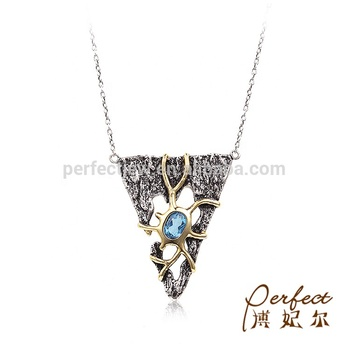925 Antique Silver Blue Topaz Tribal Necklace Jewelry with Gold Plated