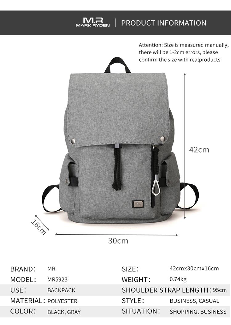 Mark Ryden Korea Fashion Style Waterproof USB Charging Bag College School Backpack MR5923