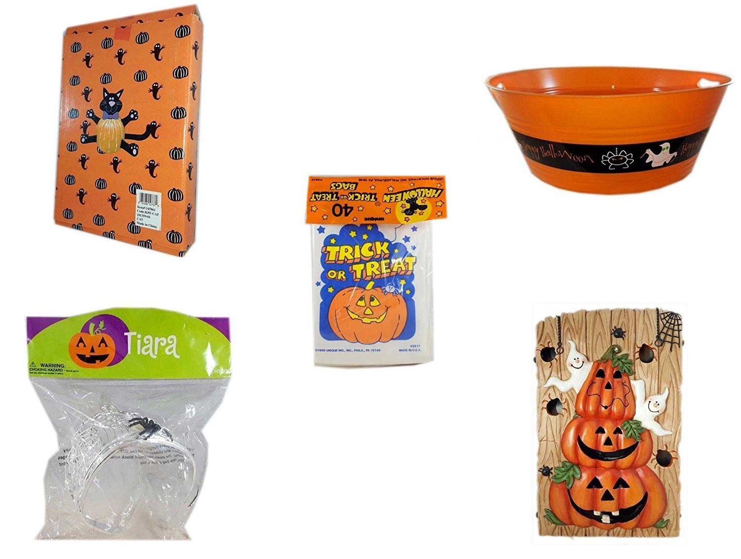 "Halloween Fun Gift Bundle [5 piece] - Halloween Cat Pumpkin Push In 5 Piece Head Arms Legs - 17.75 Inch Orange ""Happy Halloween"" Party Tub - Halloween Trick or Treat Bags 40/ct - Halloween Spider T"