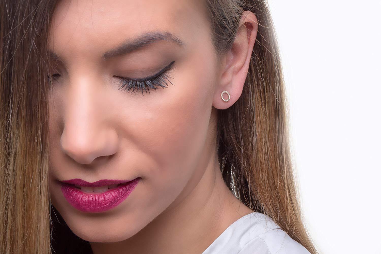 Dainty diamond earrings, Diamond studs, Diamond circle earring, Circle earrings, Gold studs, Tiny gold earrings, Black diamond earrings