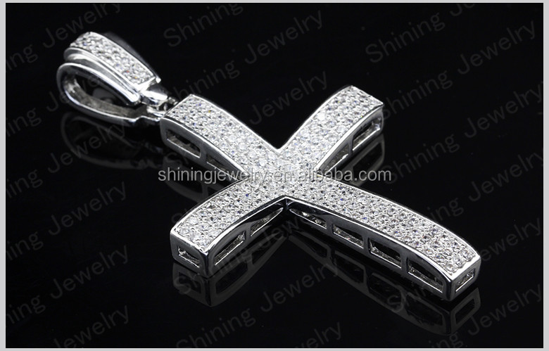 Large 10k 14k white gold plating men cross pendant sterling silver large 10k 14k white gold plating men cross pendant sterling silver pendants mozeypictures Image collections