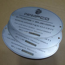 Custom made oval laser terukir seri bernomor stainless steel label