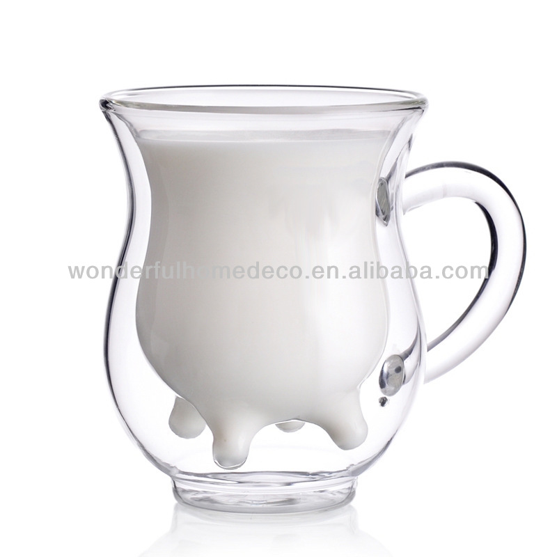 double wall cow milk glass