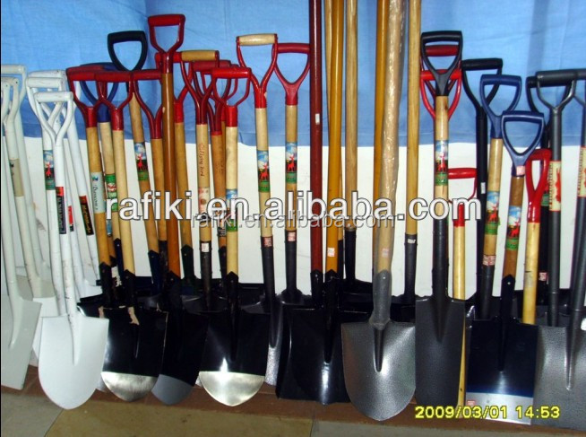 wooden handle steel shovel used for garden and farming