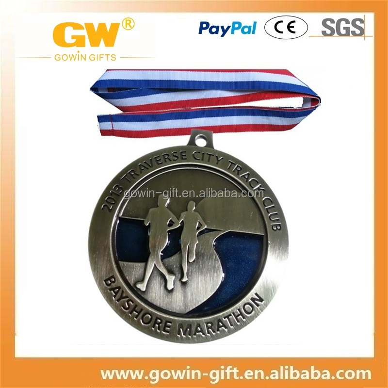 Custom Run Race Medal,Metal Award Sport Ribbon Medal