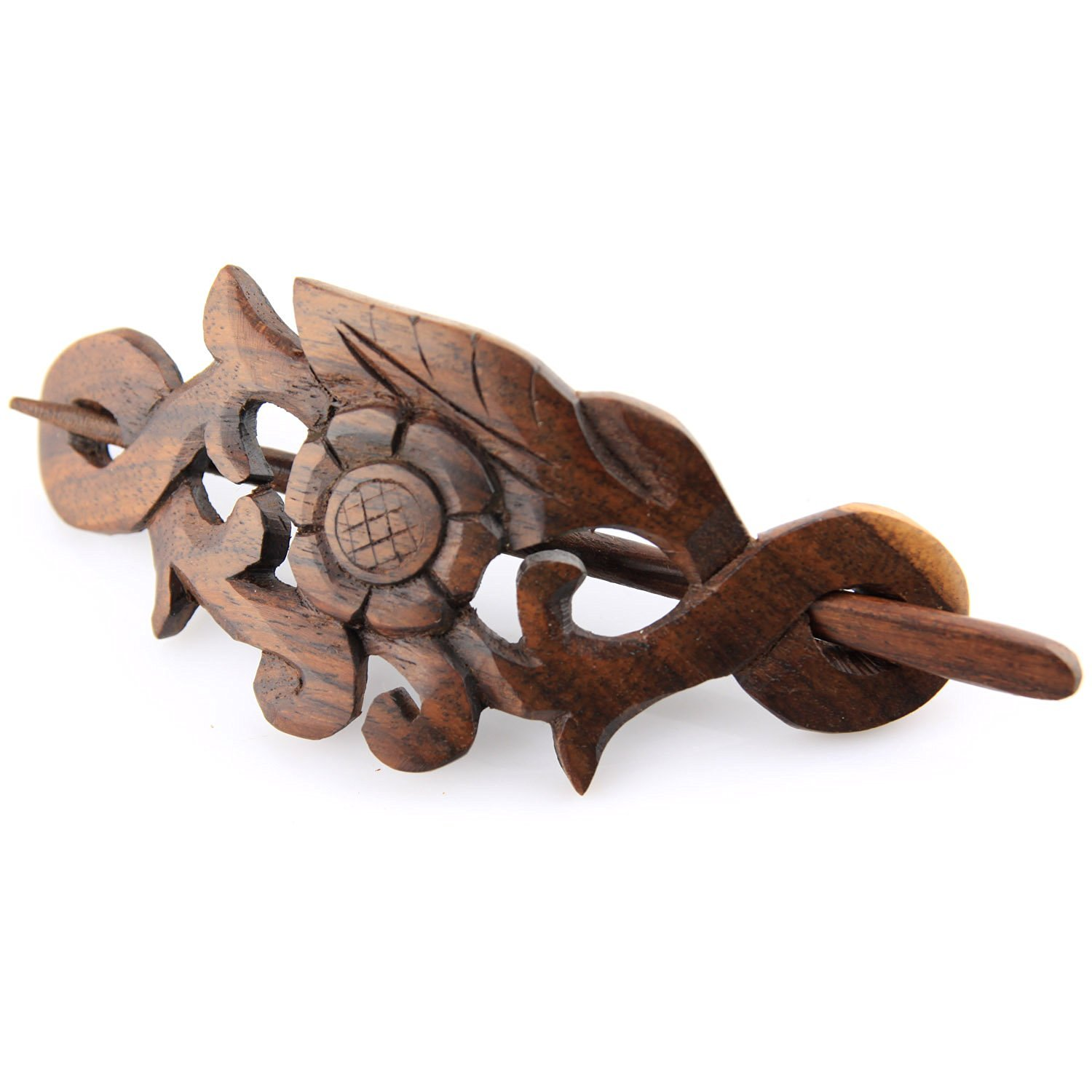 """Evolatree - Hand Carved Sono Wood Natures Heart Floral Leaf Crest Hair Pin Barrette - 4"""""""