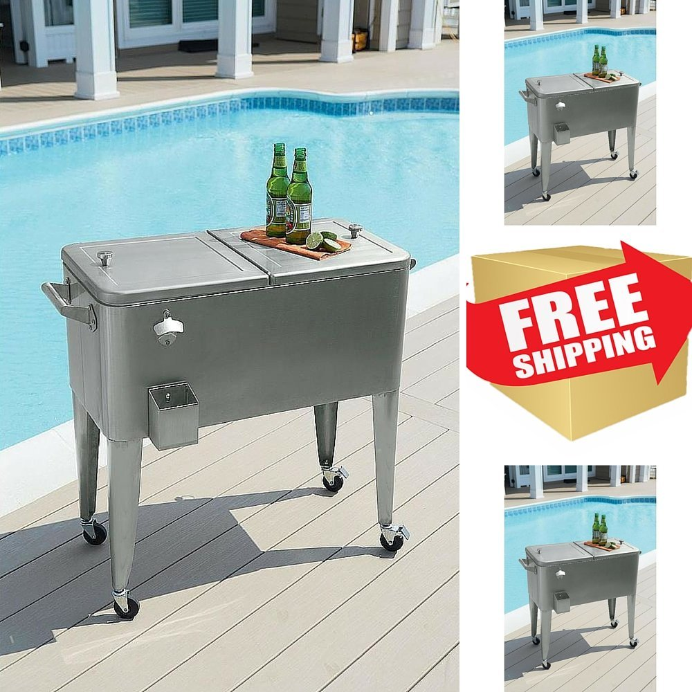 Patio Cooler Cart,Stainless Steel Cooler On Wheels,Garden Patio Cooler,Outdoor  Cooler