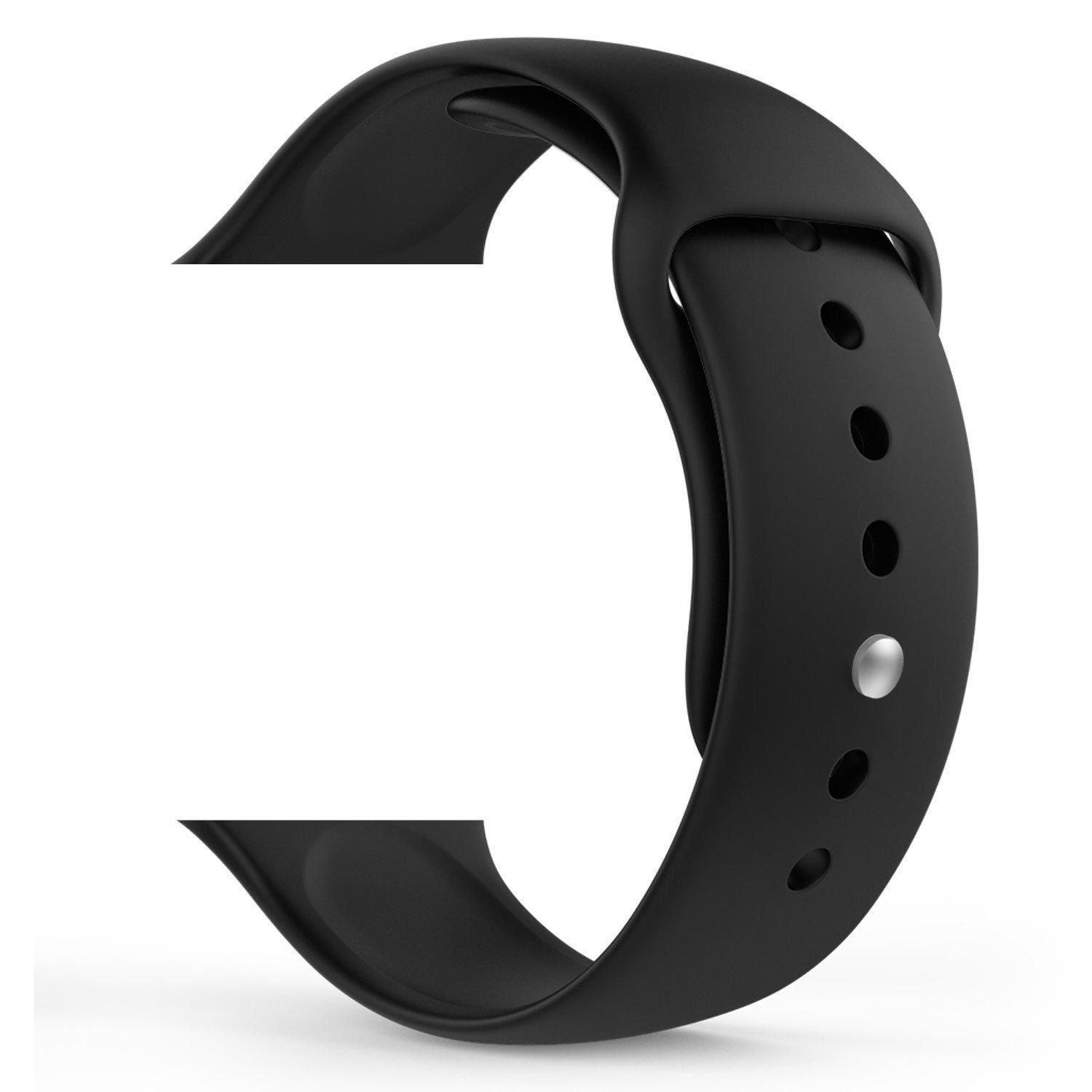 Juvnile Apple Watch Sport Band, Soft Silicone Replacement with Stainless Steel Pin (42mm, Black, Medium/Large (2Pcs))