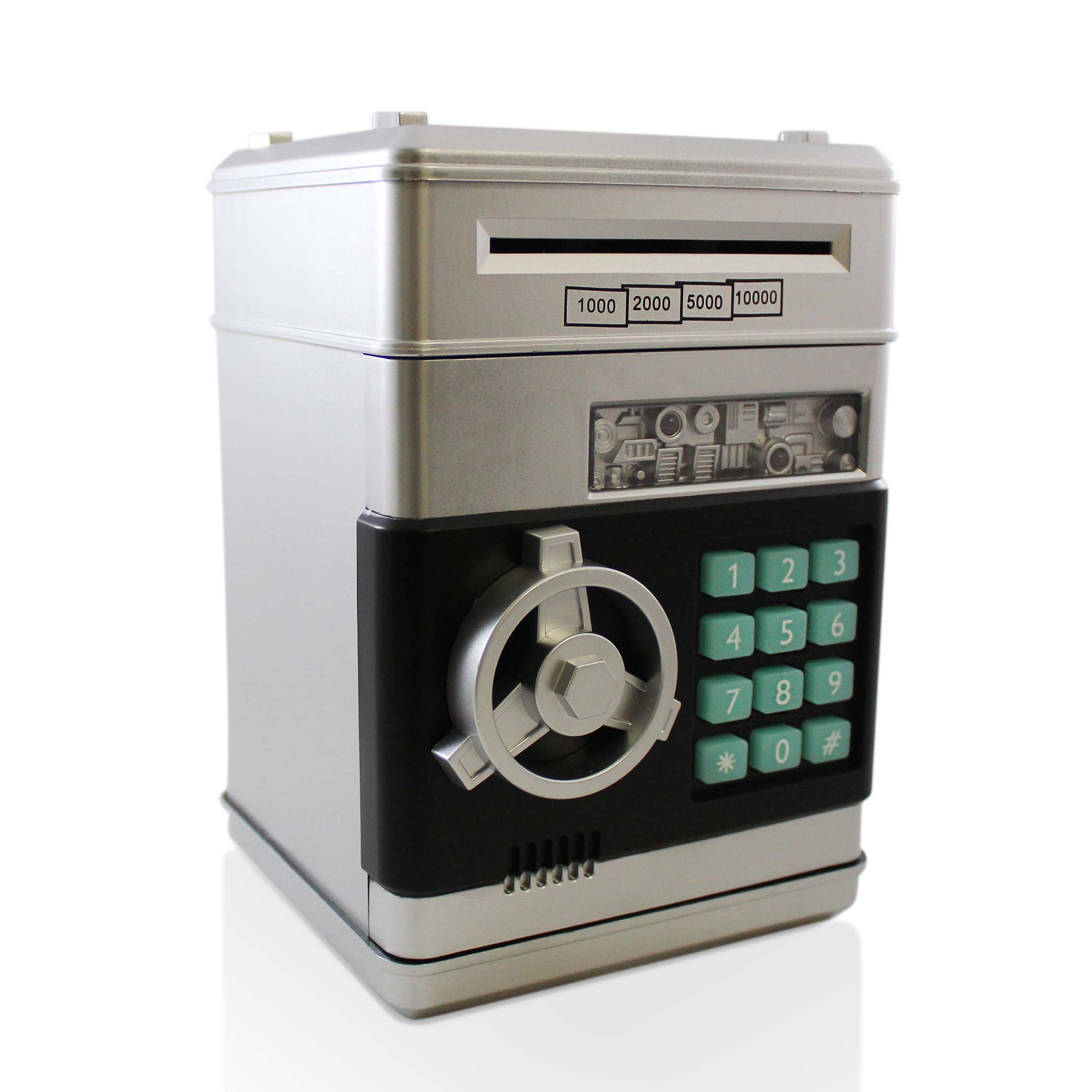Safe Coin Bank Toy - Electronic Cash Money Piggy Box ATM Locker (Silver-Black)