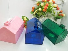 OEM plastic house shaped money saving box for Christmas promotion