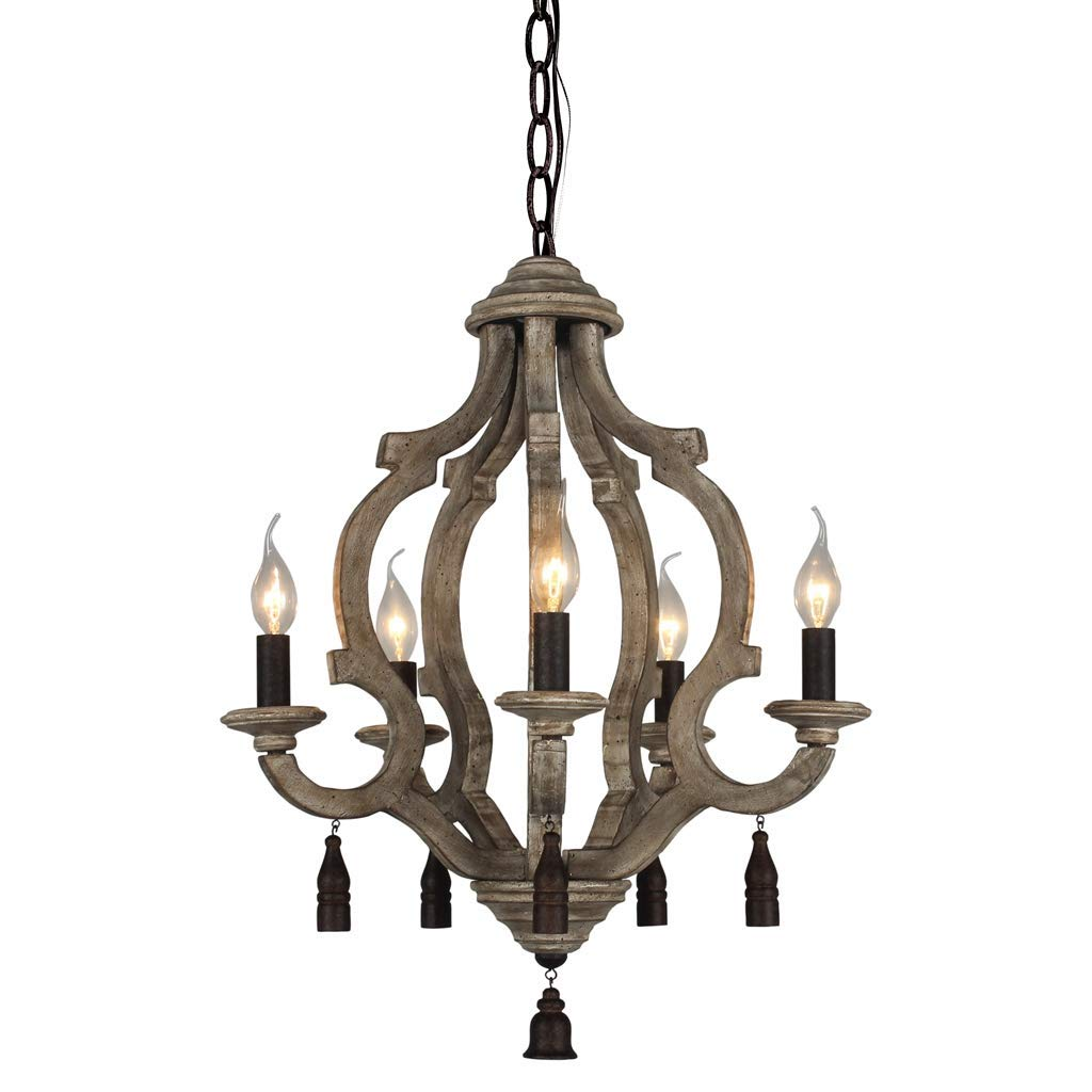 Foyer Living Room Bedroom DOCHEER Vintage Wooden Chandelier 5-Candle Holder Lights Distressed White Wood Metal Chandeliers 22.5 Wide for Dining Room Entryways