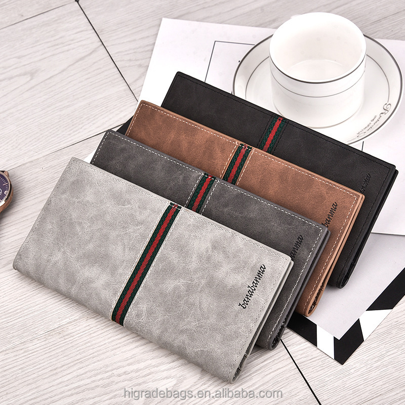 Men PU Leather Business Card Holder Pocket Super Thin Money Clip Wallet