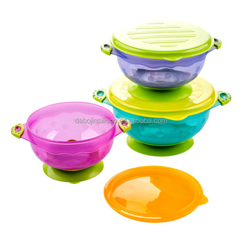Plastic Dinner Table Set For Kids: 3 Size Stackable Stay Put Spill Proof  Baby