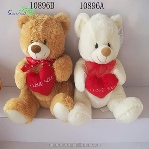 Top Quality custom Colour valentine's day plush white teddy bear with red heart