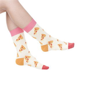 Pizza pattern design socks combed cotton knitted woman sox