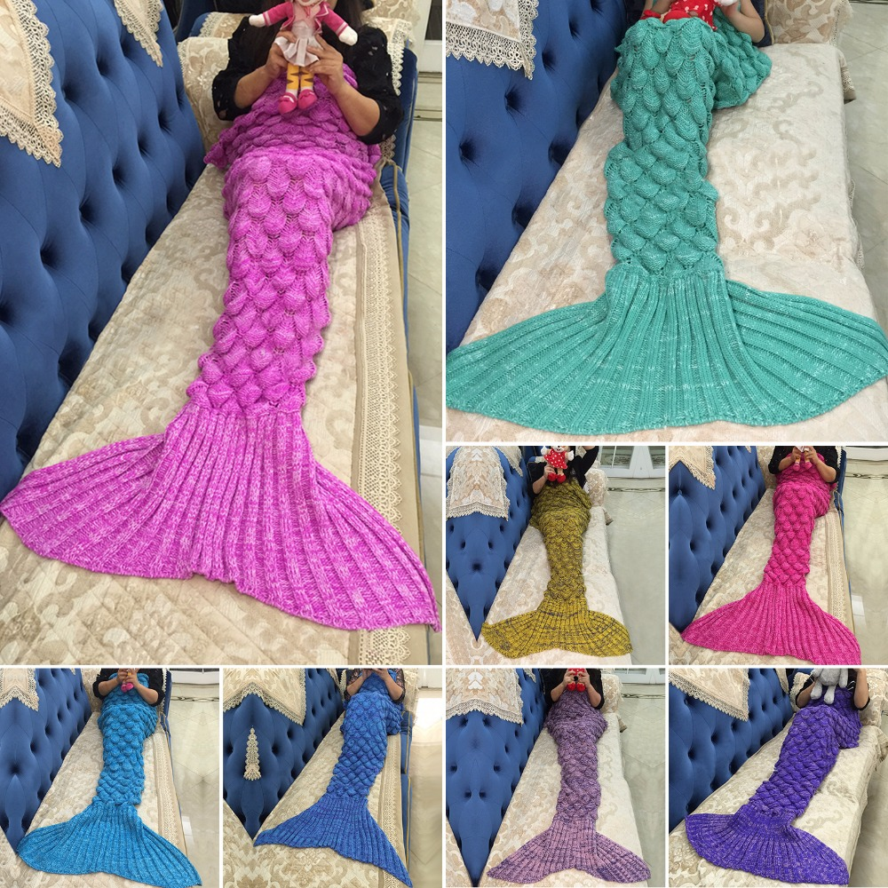 Walson Wholesale Multicolor Mermaid Tail Blanket Crocheted Knitted