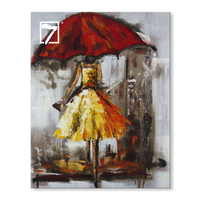 Wholesale Handmade Artwork Impressionism Umbrella Girl Stretched Oil Painting for Home Decor