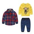 2016 baby boy clothing sets plaid jacket sweater pants monkey pattern 3pieces sets free shipping