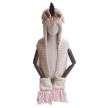 Wholesale 2018 hot sale children unicorn hooded scarf high quality 7colors crochet winter warm tassel kids unicorn scarf
